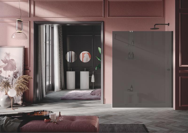 La nuova doccia Open di Samo in vetro fumè satinato